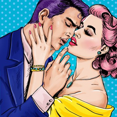 Love couple.Pop Art Couple.Pop Art love. Valentines day postcard. Hollywood movie scene. Love Pop Art illustration Pop Art love. Valentines day postcard. Real love. Movie poster. Comic book love. male