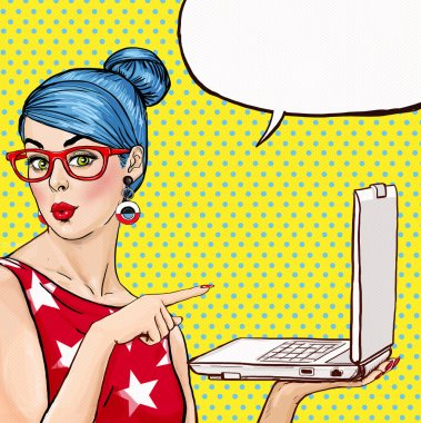 Girl with laptop in the hand in comic style. Woman with notebook . Girl showing the laptop. Girl in glasses. Hipster girl. Sexy blue hair girl with laptop. Digital advertisement. MacBook. Business.