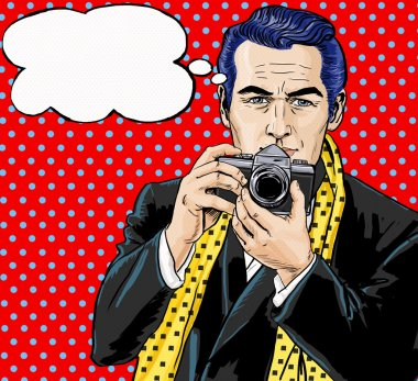 Vintage Pop Art Man with photo camera and with speech bubble.Party invitation. Man from comics.Playboy.Dandy. Gentleman club. Paparazzi man. Fashion journalist. Photographer. Tourist with camera.
