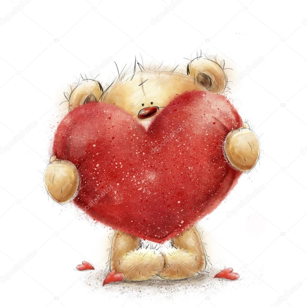 ours en peluche avec le gros coeur rouge carte de voeux de saint valentin conception de lamour lovei aime votre carte affiche de lamour - Ours Coeur