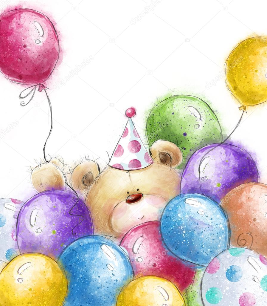 teddybär mit bunten luftballons. hintergrund mit bär und, Einladungen
