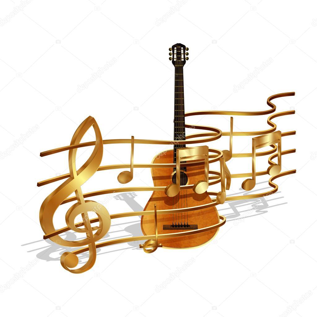 notenvolumen und gitarre — stockvektor © yegenkachurin