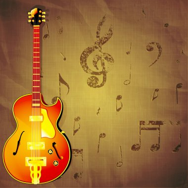 jazz guitar on paper background with music notes