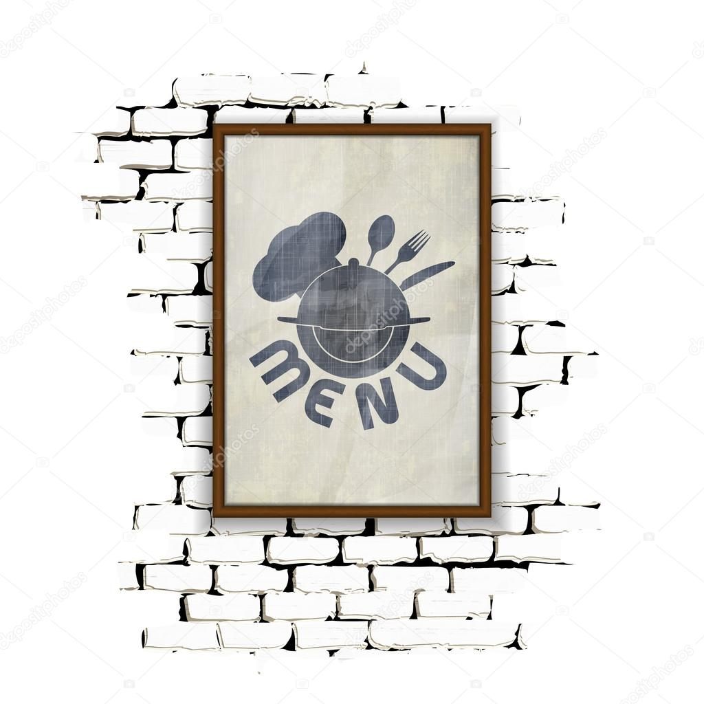 restaurant menu in the frame on a brick wall — Stock Vector ...