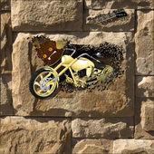 Motocykl na kamenné zdi