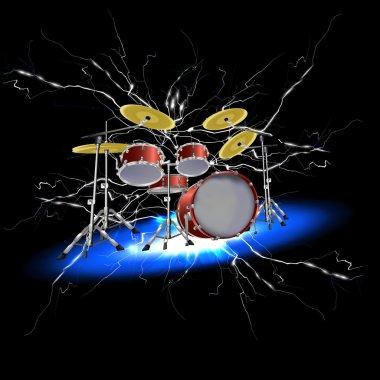 drum set with lightnings