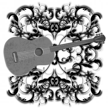 music design with guitar monochrome