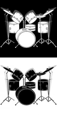 drum set black and white with shadow