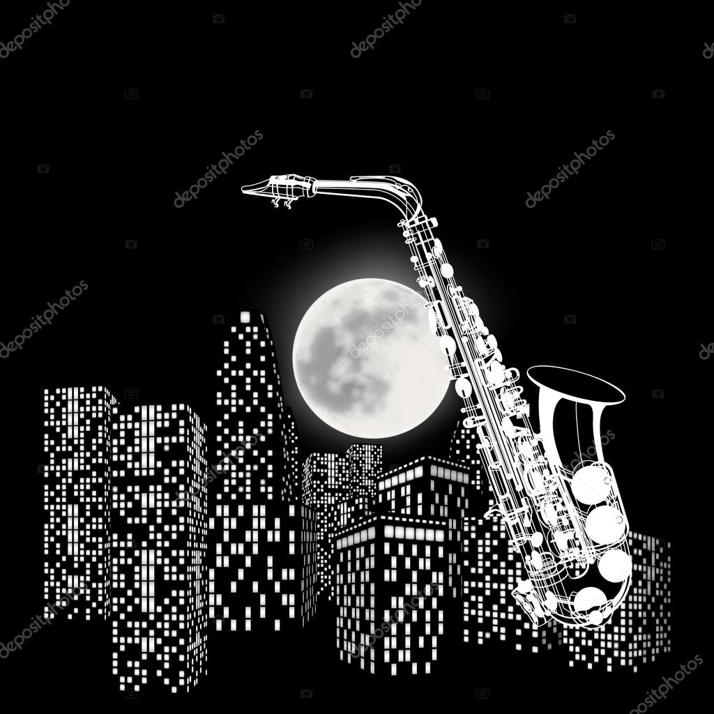 saxophone on a background of the moon and city