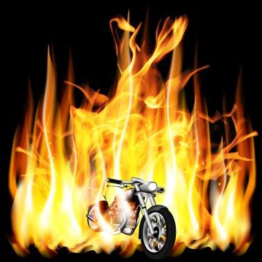 motorbike, chopper on fire background