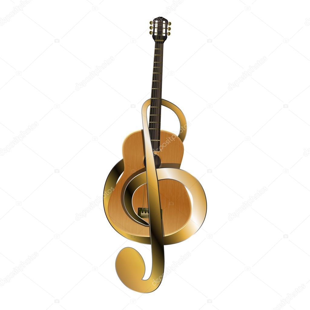Guitarra Acústica Cinturón De Seguridad Con Clave De Sol Archivo