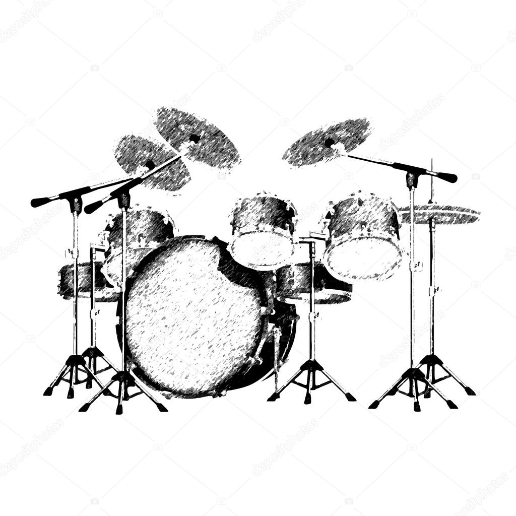 Vector Illustration Of A Drum Set Drawing Strokes Isolated Object Can Be Used With Any Images Or Separately By Yegen Kachurin