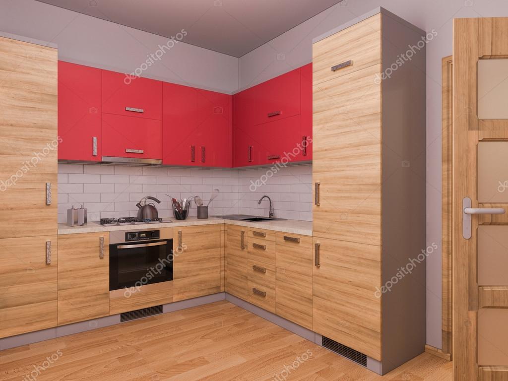 visualización 3D de diseño de interiores cocina en un apartamento ...