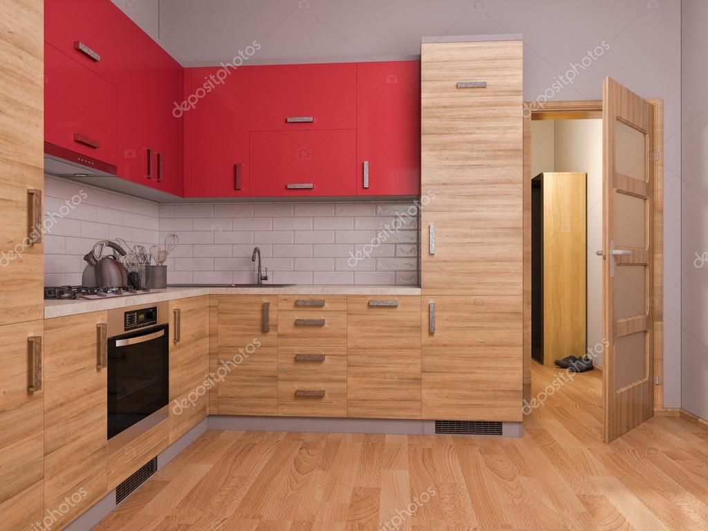 3d render of interior design kitchen in a studio apartment in a modern minimalist style the illustration shows a corner kitchen in red and wooden color