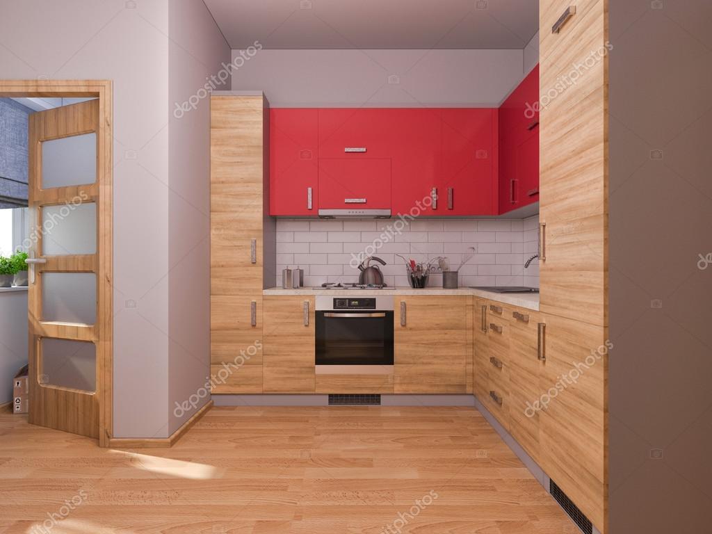 Wizualizacje 3d Wnętrz Kuchnia W Mieszkaniu Zdjęcie