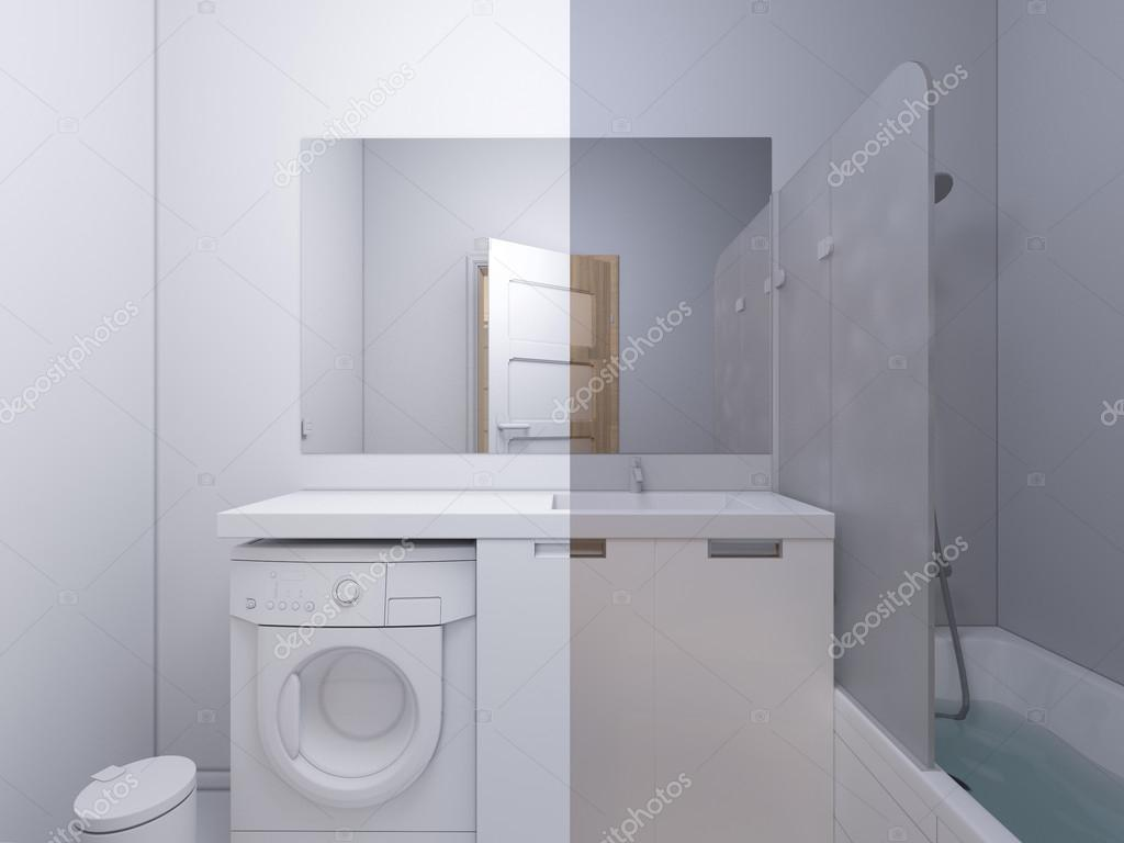 3d illustration collage of interior design bathroom — Stock Photo ...