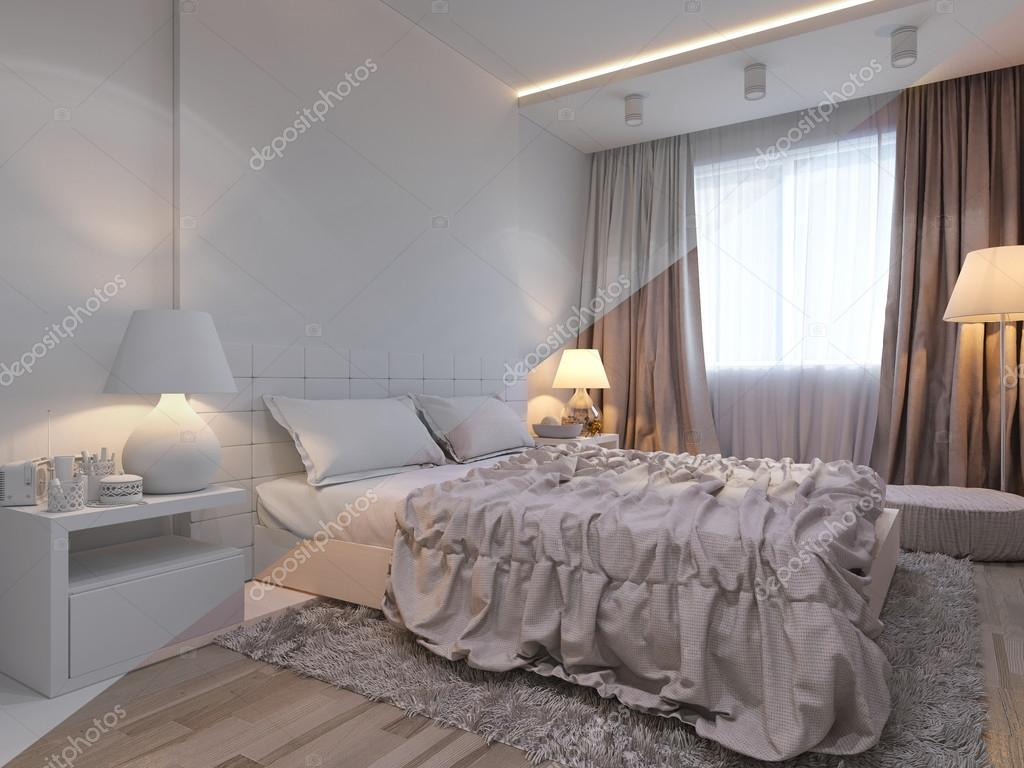 3d Illustration Of Bedroom Interior Design In A Modern Style. Bedroom In  Without Colors Opposite The Bed Side Table With A Console TV.