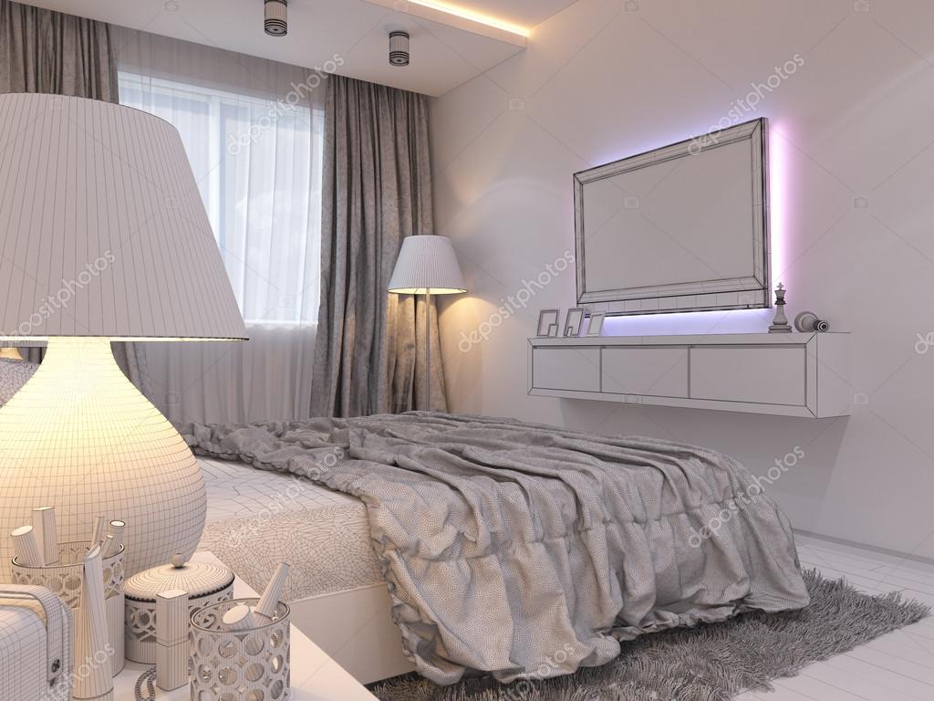greek style bedroom design | 3d rendering of bedroom
