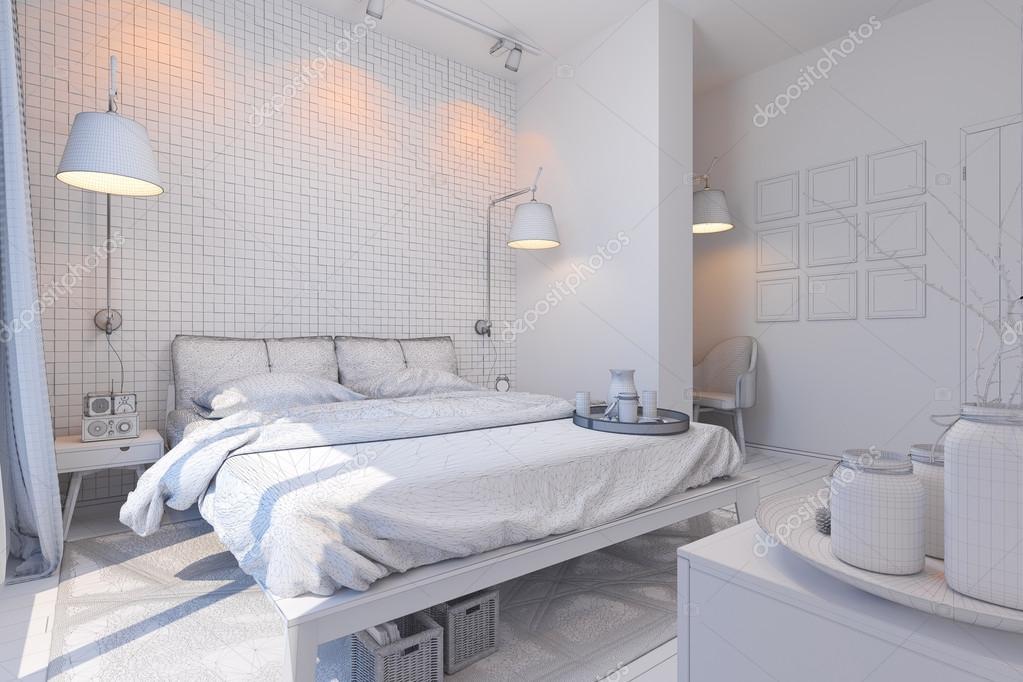 rendu 3d de design d 39 int rieur chambre coucher dans un style contemporain photographie. Black Bedroom Furniture Sets. Home Design Ideas