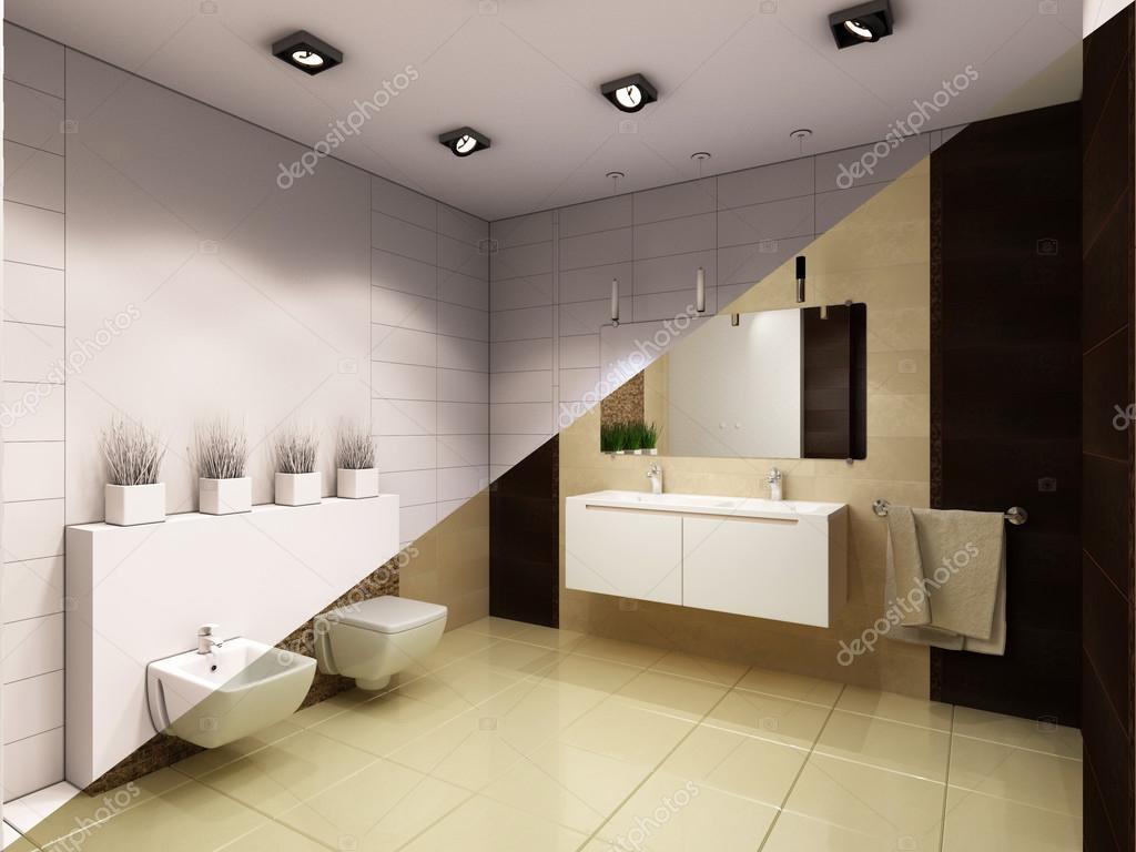 Ilustración 3D de diseño de interiores, cuarto de baño con ducha ...