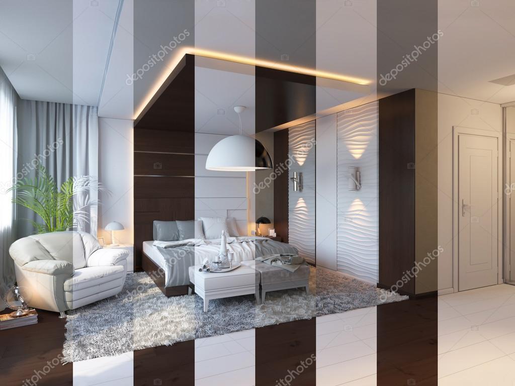 Render 3d de dise o de interiores de dormitorio en un for Diseno de habitacion de estilo contemporaneo