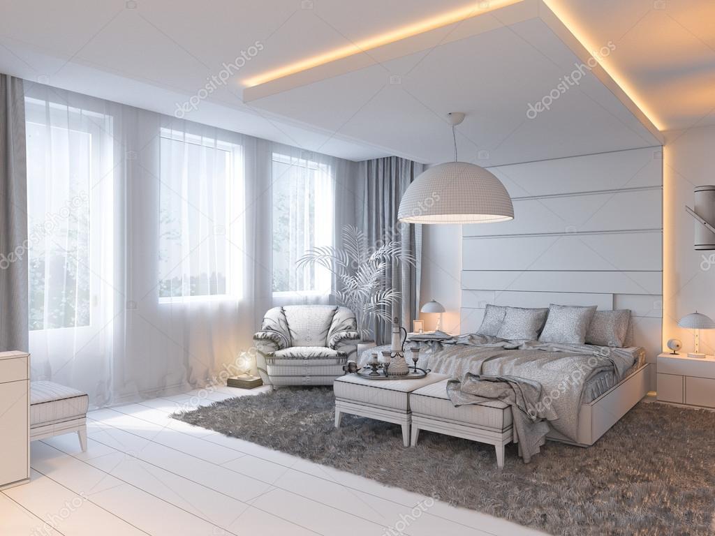 rendu 3D de design d\'intérieur chambre à coucher dans un style ...