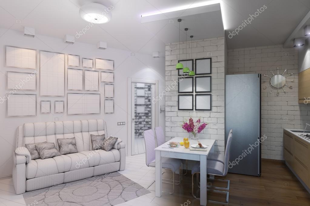 render 3D de salón comedor con cocina diseño de interiores en un ...