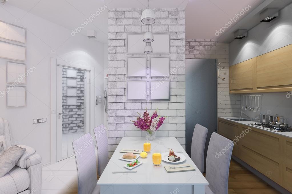 3D render uit woonkamer met keuken interieur in een moder ...