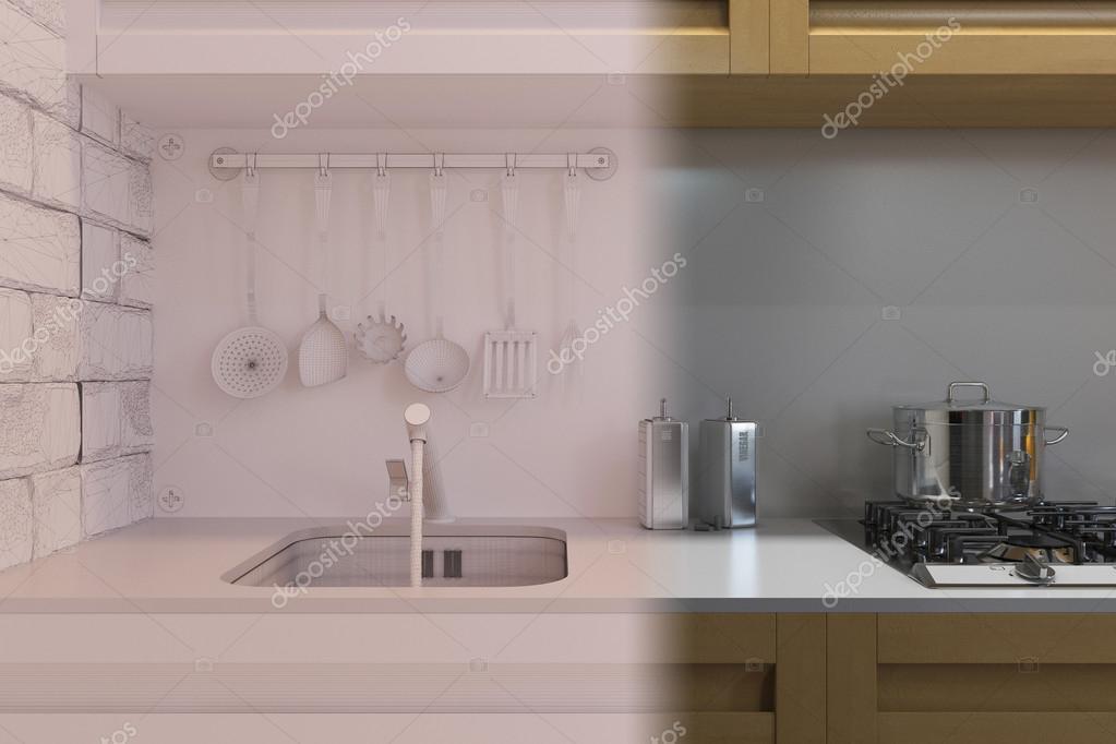 3D render de cocina diseño de interiores en un estilo moderno ...