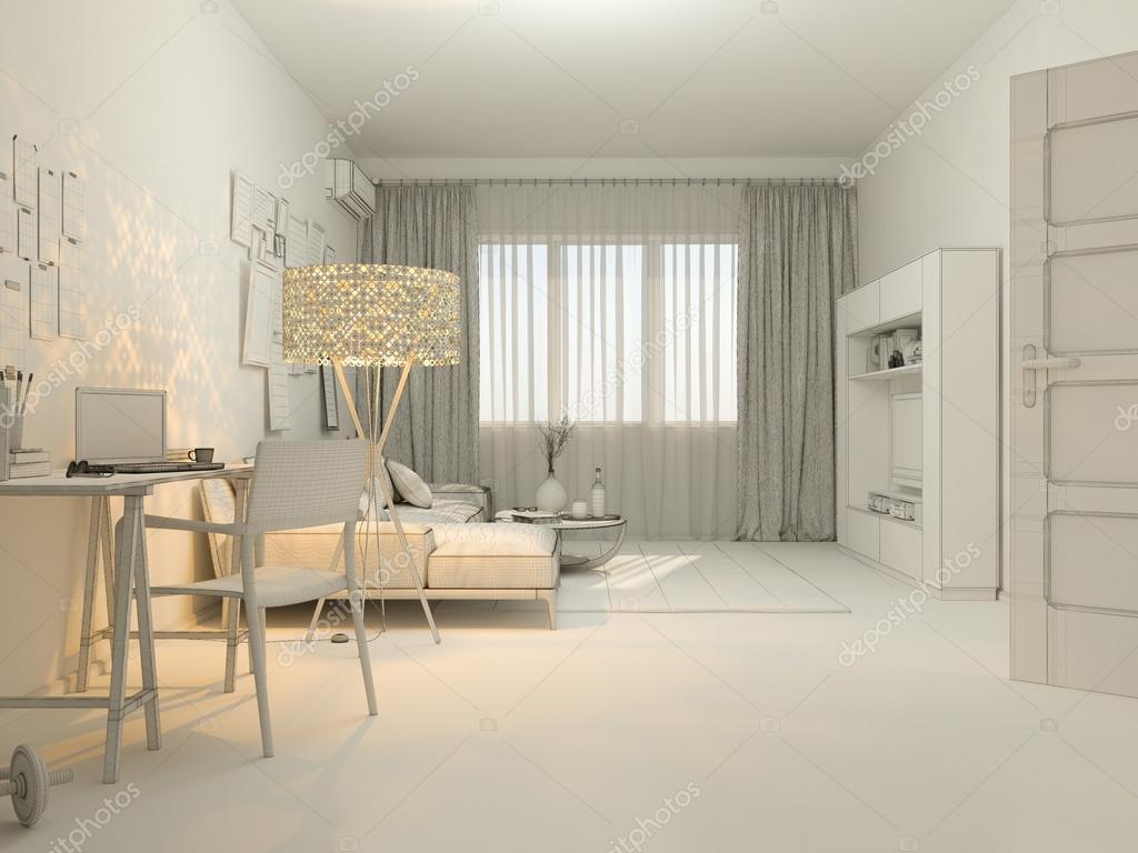 3D Visualisierung der Innenarchitektur in ein Studio-Apartment Leben ...
