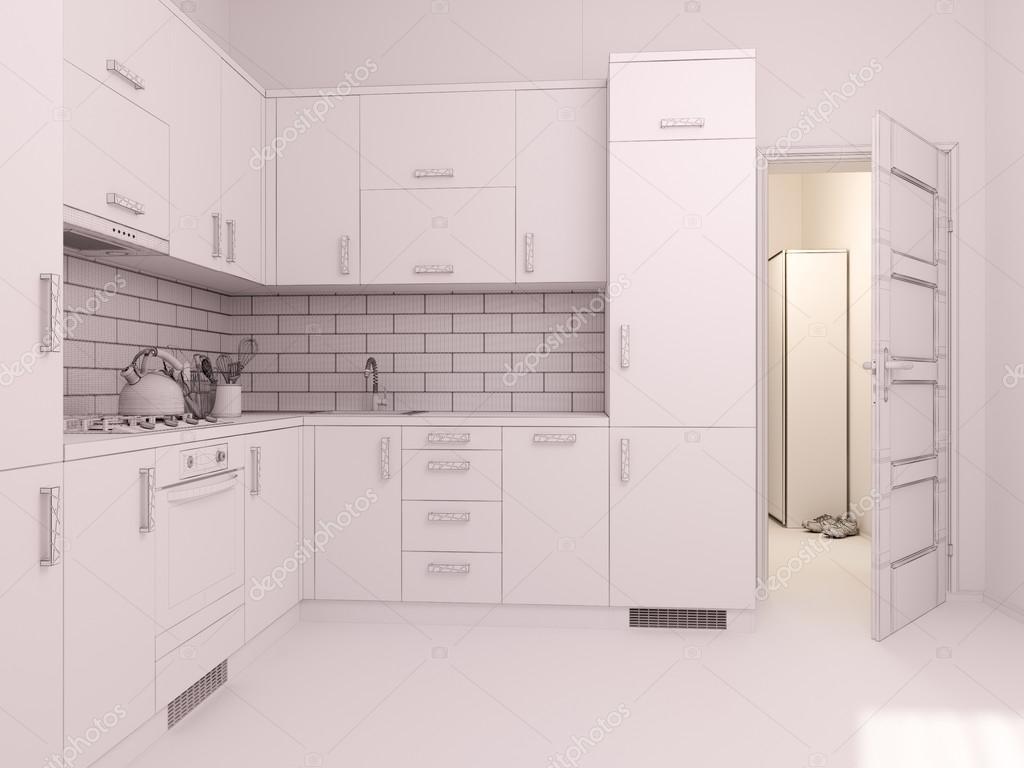 3D Visualisierung der Innenarchitektur Küche in einem studio ...