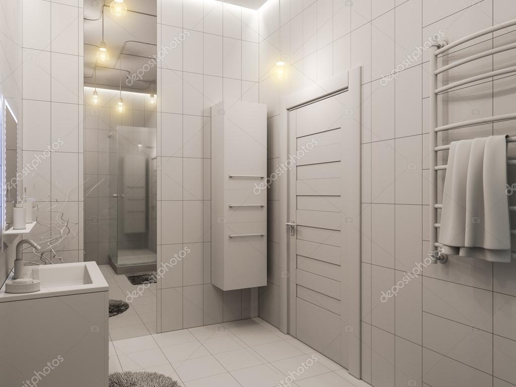 D weergave van een badkamer interieur design voor kinderen