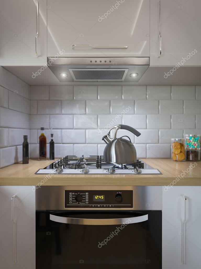 decoración de cocina de renderizado 3D. Diseño de interior estilo ...