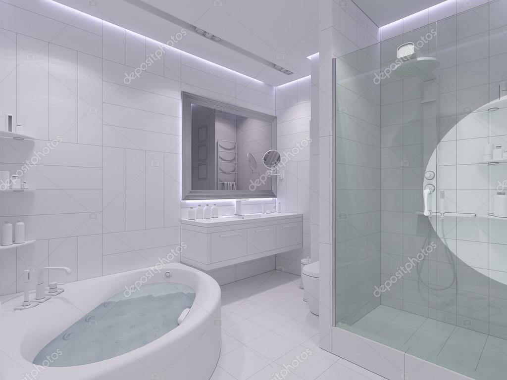 Diseño interior en 3D render de un cuarto de baño — Fotos ...