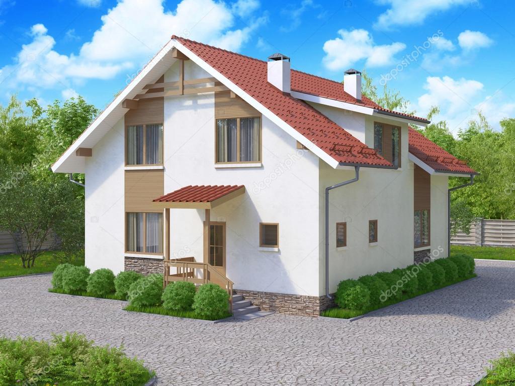 3d Rendering Private Suburban Zweistockigen Hauses In Eine
