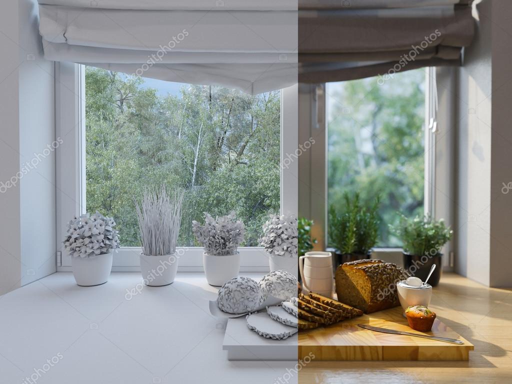 decoración de cocina de renderizado 3D. Diseño de interiores en un ...