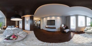 3d illustration seamless panorama of bedroom interior design.