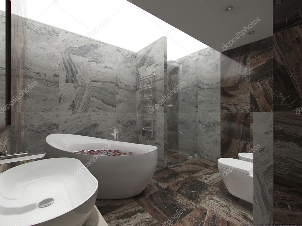 łazienki W Kamieniu Z Biała łazienka Zdjęcie Stockowe
