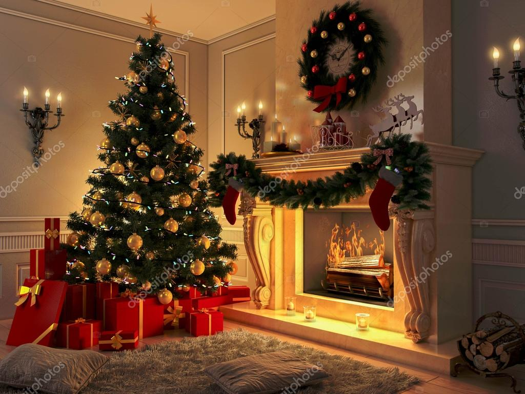 New Interior With Christmas Tree Presents And Fireplace Postcard