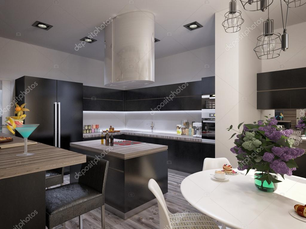 D coration salle de s jour avec cuisine photo 64093517 - Deco salle de sejour ...