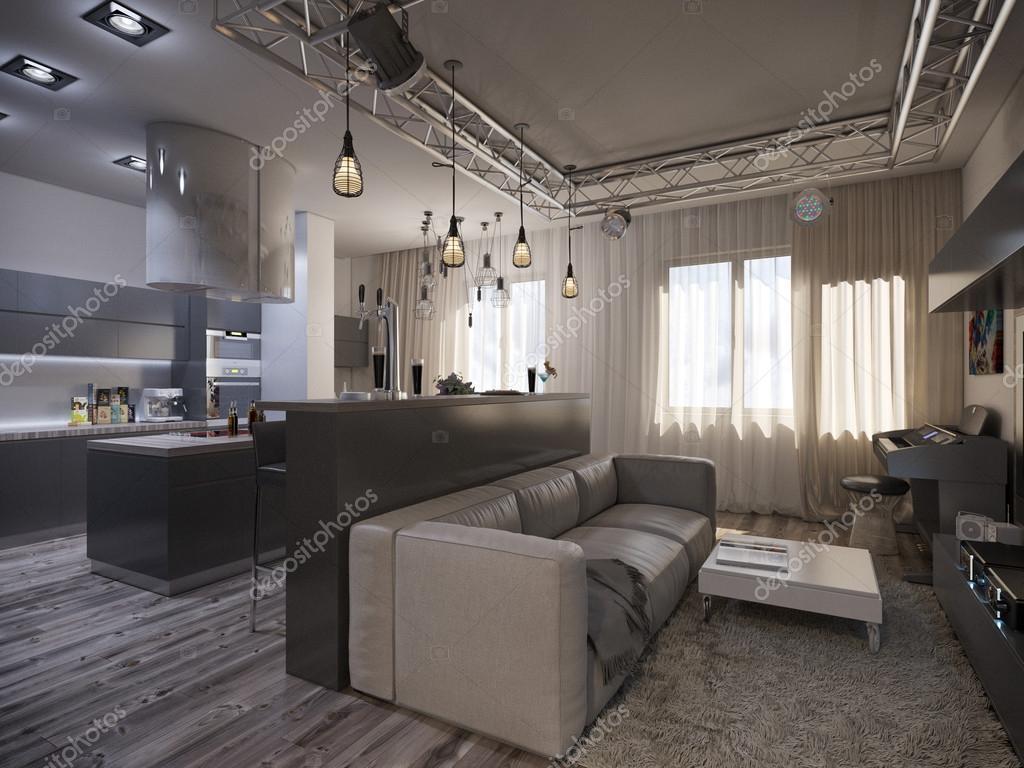 Interior design soggiorno con cucina — Foto Stock © Richman21 #64093521