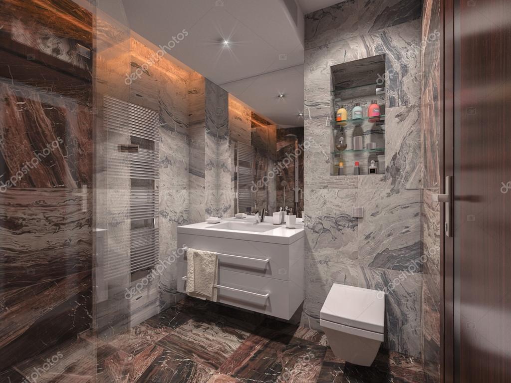 Salle de bains en pierre grise et marron avec salle de bain blanc ...