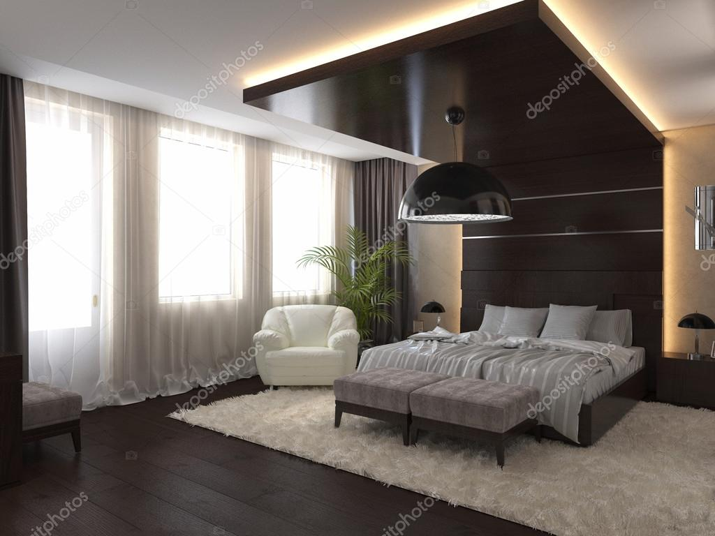 3D Render Bedroom In A Private House In Brown And Beige Colors U2014 Foto Von  Richman21