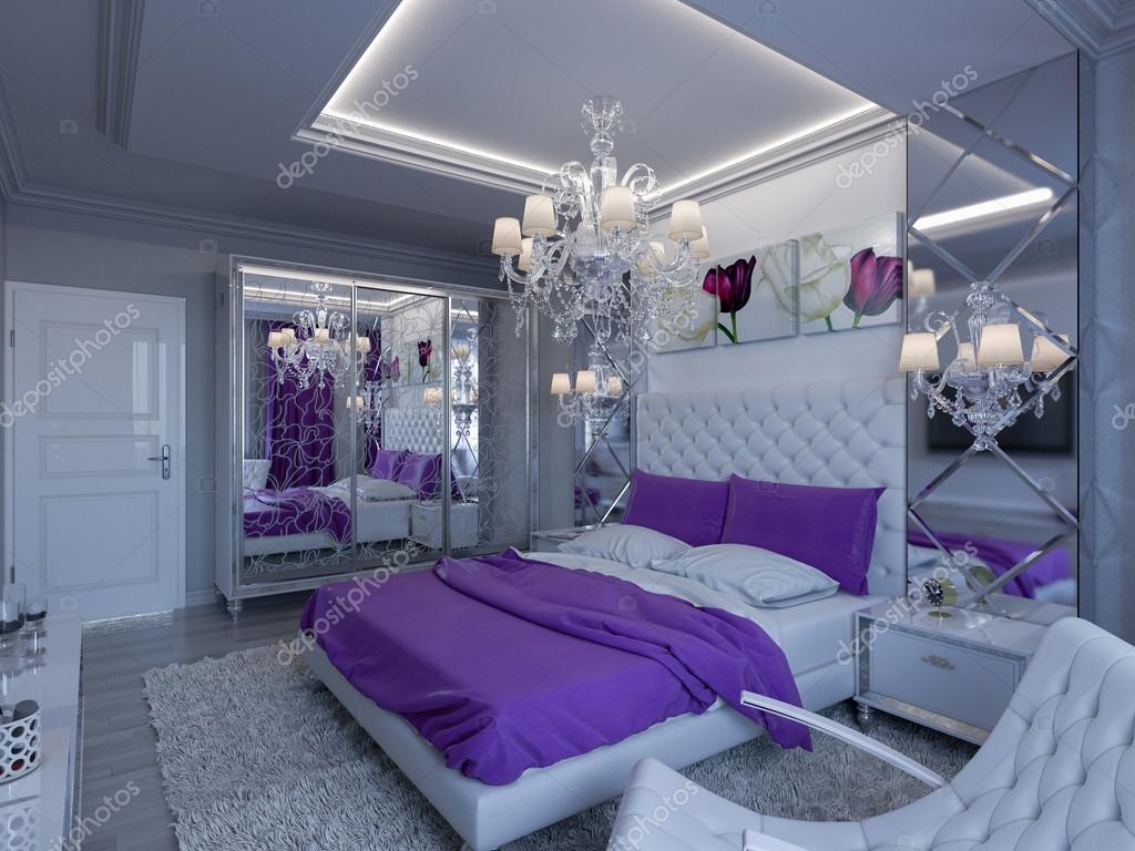 3d rendering slaapkamer in grijze en witte tinten met paarse accenten en grote kast foto van richman21