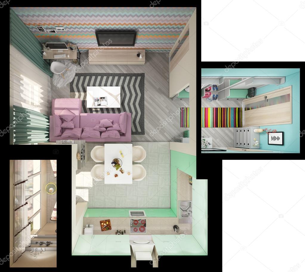 3d illustratie van kleine appartementen in pastel kleuren for Progetti di ristrutturazione appartamenti