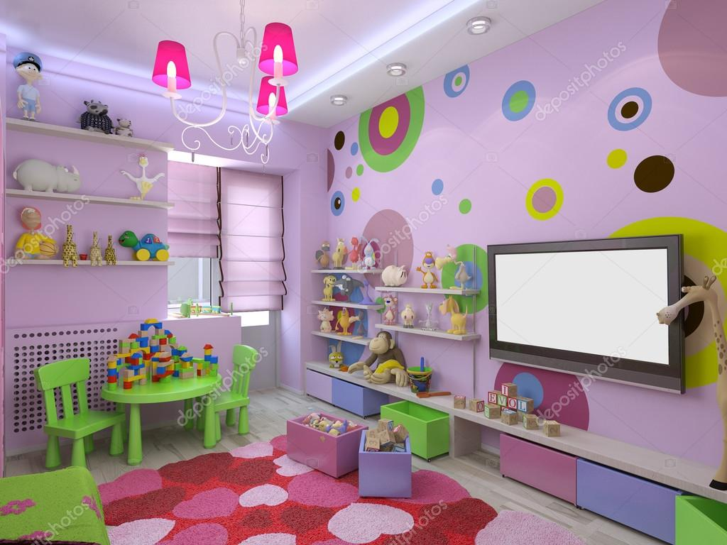3D Abbildung Kinderzimmer für Mädchen in rosa Farben — Stockfoto ...
