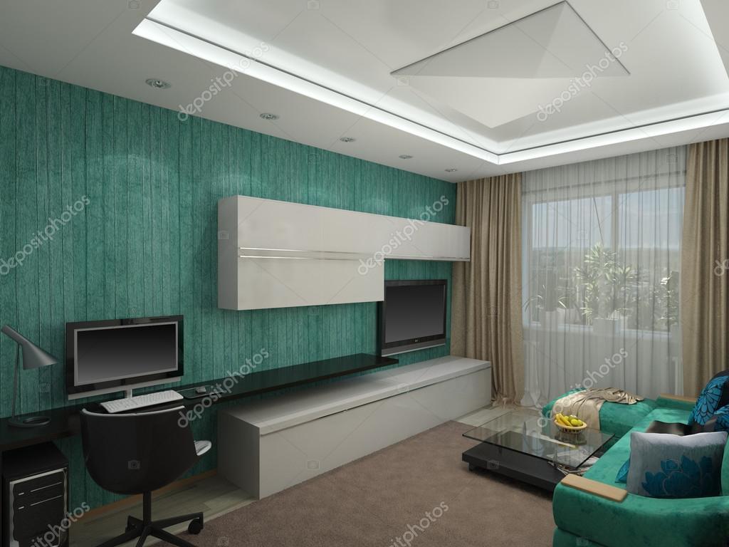 Turquoise Accessoires Woonkamer : 3d illustratie uit een woonkamer in een turquoise kleur u2014 stockfoto