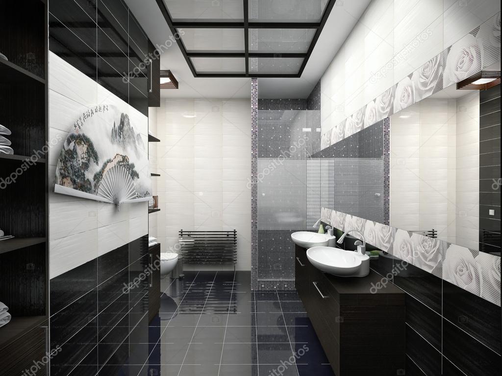 Ilustraci n 3d de dise o de ba o en color blanco y negro for Diseno de bano en 3d