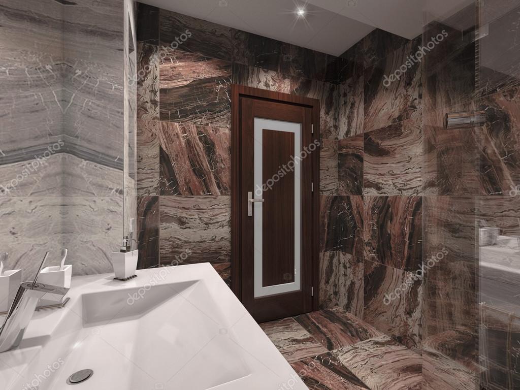 3D illustration une salle de bains en pierre grise et marron avec ...