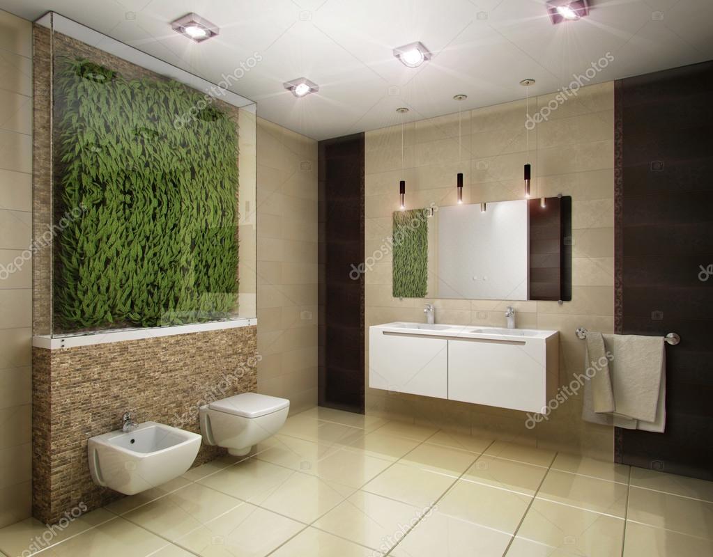 illustrazione 3D del bagno nei toni marroni — Foto Stock ...